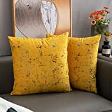 Nanhiking Velvet Soft tie-dye Throw Pillow Covers Yellow Decorative Square 18x18inch Cushion Case for Sofa Bedroom Car 2 Pack(Yellow 18x18)
