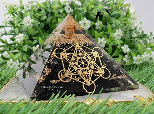 Pirámide de orgonita Shungite con cuadrícula de vidrio de Metatron, generador de energía de pirámide orgona para protección EMF, pirámide de carga de vidrio curativo para meditación de chakras y energía positiva
