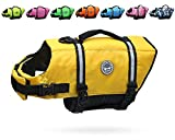 Vivaglory Ripstop & Reflective Dog Life Jacket, Life Vests with Enhanced Buoyancy & Rescue Handle for Swimming, Yellow, Small