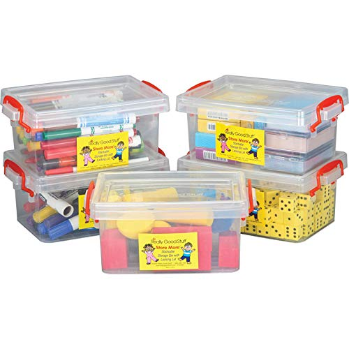 Really Good Stuff Small Clear Plastic Stackable Storage Tubs with Locking Lid  Red Handles Lock Lid in Place  Hold Supplies, Manipulatives and More in Classroom or Home, 8x4x5 (Set of 5)