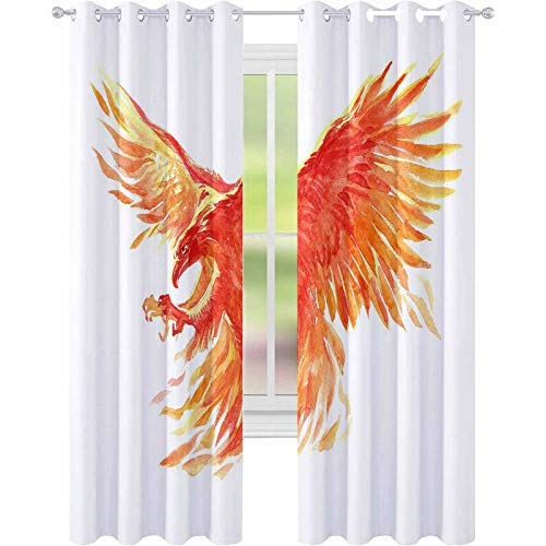YUAZHOQI Window Curtain Drape Watercolor Single Character Mystical Mythical Character Phoenix Isolated on a White Background Illus 52' x 84' Curtains for Bedroom
