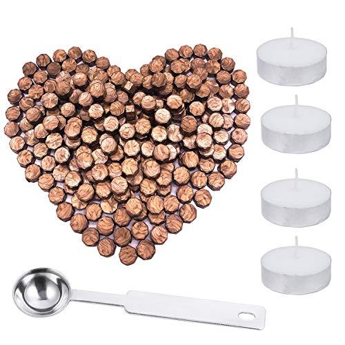 200 bastoncini ottagonali di ceralacca con scatola + 4 candele da tè + 1 cucchiaio per ceralacca, kit per timbro con ceralacca, 5 colori - sigillo per lettere Rame