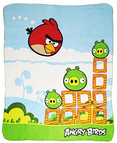 alles-meine.de GmbH Fleecedecke / Kuscheldecke -  Angry Birds - grün  - 120 cm * 145 cm - Decke aus Fleece - Plaid Kinderdecke - Schmusedecke - Bird - Vogel / Red - Jim Jake Ch..