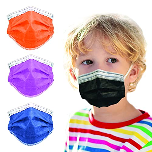 3-Ply Breathable Kids Disposable Face Mask (Black) - Made in USA - Designed for Children - Kids Size   For Girls and Boys, Travel, Classroom, School, University (50 pcs)