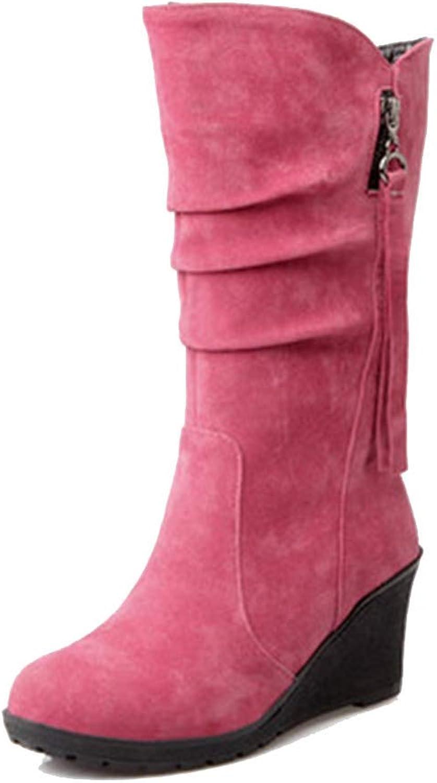 Elsa Wilcox Women's Suede Round Toe Wide Width High Heel Tassel Dress Boots Wedge Platform Slouch Boots Mid Calf