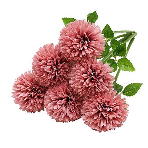 Tifuly Künstliche Hortensie Blumen, 11 Zoll Seide Pompon Chrysantheme Kugel Blumen für Hausgarten Party Büro Dekoration, Braut Hochzeitssträuße, Blumenschmuck, Mittelstücke(6 Stück, Rosa)