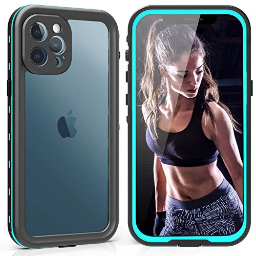 "iPhone 12 Pro Max Waterproof Case Blue, 12 Max Waterproof Case with Built-in Screen Protector, Full Body Dustproof Shockproof Case for iPhone 12 Pro Max 6.7"" 2020 (Clear+Blue)"