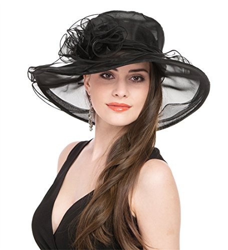 SAFERIN Women Kentucky Derby Church Dress Organza Hat Wide Brim Flat Hat Black
