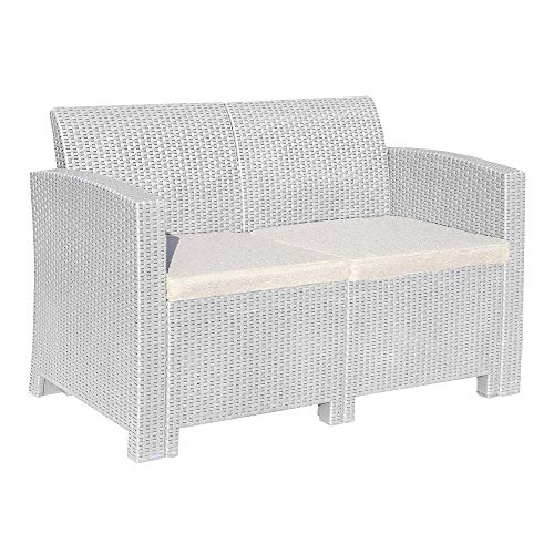 Trueshopping Marbella 2-Seater Rattan Sofa Lounger in Grey - Outdoor Garden Patio Furniture with Padded Cushion - Fade Resistant, Easy Assembly & Wipe Clean