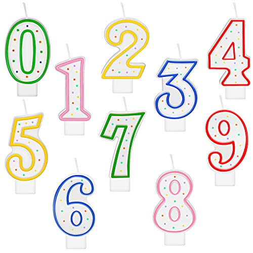 10 Pieces Polka Dot Birthday Candle Number Candle Numeral 0-9 Candle Cake Topper Decoration for Birthday Party Supplies (Multicolored)