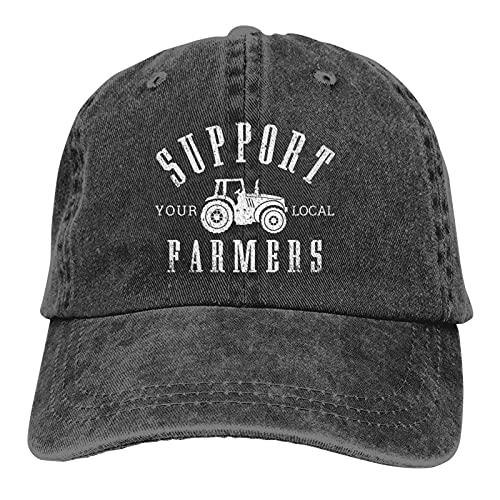 Supporta i tuoi agricoltori locali, cappello classico da baseball, unisex, lavabile e regolabile, tinta unita, Nero , Taglia unica