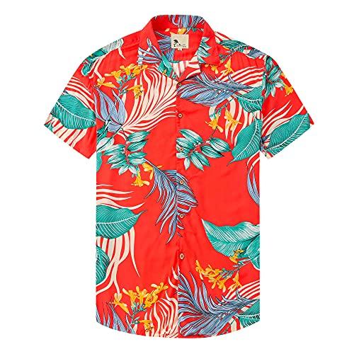 Damipow Hawaiian Shirts for Men Short Sleeve Aloha Beach Shirt Floral Summer Casual Button Down Shirts,Orange49690,4,XL