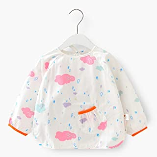 0-4 Years Old Baby Cotton Waterproof Children Cartoon Long-sleeved Bib Anti-dressing Dinner Bib With Sleeve For Infant Tod...