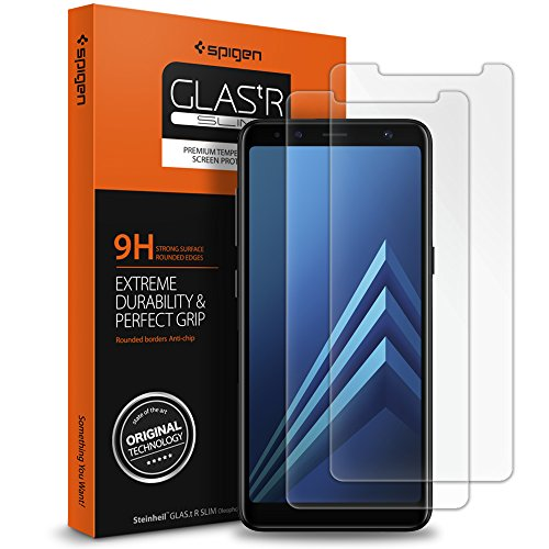 Spigen, 2 Pieces Protection écran Galaxy A8 2018 en Verre Trempé, Easy-Install Kit, [Extreme Résistant aux Rayures] Protection Verre trempé Galaxy A8 2018