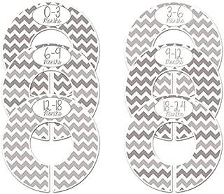 C170 Grey Chevron Gender Neutral Baby Closet Dividers Set of 6 Fits 1.25 Inch Rod (Ranged Months)