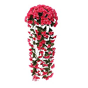 Fheaven Springs Flowers Artificial Silk Violet Bouquets Wedding Home Decoration,Violet Bracketplant Hanging Garland Vine Flower Traling (Pink Hot)