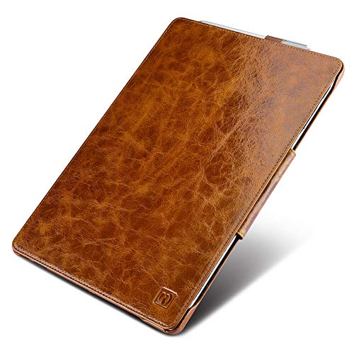 icarercase Surface Pro 7/ Surface Pro 6/ Suface Pro 2017 Leather Case, Oil Wax Genuine Leather Magnetic with Kickstand/ Keyboard Cover/ Pen Loop Folio Flip Case for Surface Pro 4 (Vintage Brown)
