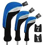 Andux - Juego de 3 Fundas para Cabezales de Maderas de Golf de 460cc con Cuello Largo y números Intercambiables Pack de 3 Etiquetas, Long Neck, Blue, MT/MG23