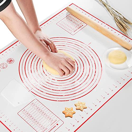 AJOXEL Silikon Backmatte, 70x50cm Groß Silikonmatte Backen rutschfeste Backunterlage Antihafte Teigmatte mit Messung Teigkarte für Fondant Pizza Gebäck Brot, BPA Frei (Rot)