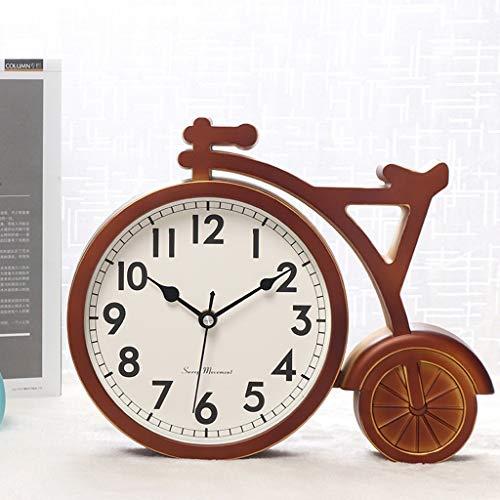 GZQDX Fashion Bicycle Table Clock Home Decoration Living Room Office Desk Clock Plastic Silent Quartz Bedroom Clock Vintage (Color : Brown)