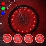 Sidaqi 4 Luces de radios de Bicicleta Rojas con Impermeables, Modo Intermitente Incluido y batería, Luces de Rueda de Bicicleta Frescas para Ciclismo Seguro