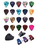 Guitar Finger Picks Set 25 Packs (Celluloid, Mix Colors) Guitar Picks Finger Picks Thumb Finger Pick Index Finger Picks with Holder For Stringed Instruments Guitar, Ukulele, Bass, Banjo, Mandolin