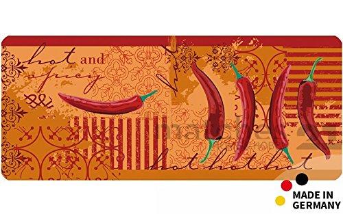 matches21 Küchenläufer Teppichläufer Teppich Läufer rot orange Chili Pepperoni 50x120x0,4 cm waschbar rutschfest Küchenvorleger