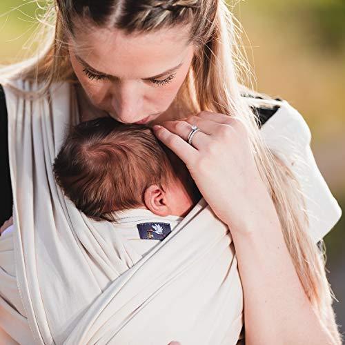 HOPPEDIZ elastisches Tragetuch für Früh- und Neugeborene, inkl. Trageanleitung, 4,60m x 0,50m, Anthrazit - 3
