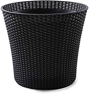 Keter Conic 15 Gallon Resin Wicker Flower Pot Set - 2 Large Indoor Garden or Outdoor Planters with Drainage Plug - Perfect for Front Porch and Room Decor, Whiskey Brown