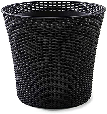 KETER Conic 15 Gallon Resin Wicker Flower Pot Set-2 Large Indoor Garden or Outdoor Planters with Drainage Plug-Perfect for Front Porch and Room Decor, Whiskey Brown