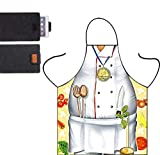 White Funny Chef Apron for Cooking - Cartoon Cute Apron Adult Party Cosplay Pretend Costume Thanksgiving Gift for Men Creative Gift Give Gray Felt Tablet Sleeve,Grade Chef