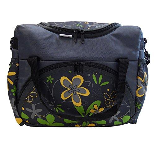 Wickeltasche | Kinderwagentasche | Babytasche Windeltasche Baby (Grau Grün Gelb Blumen)
