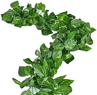 Rurality Total 16 Feet - 2 Artificial Ivy Garland Fake Green Pothos Vines Decoration for Wedding,Table,Cabinet,Epipremnum Aureum