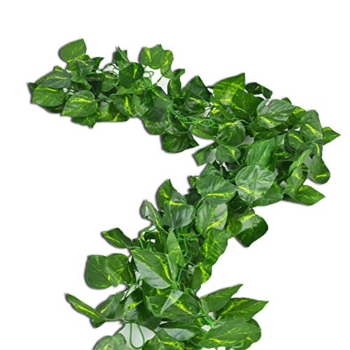 Rurality Artificial Ivy Garland Fake Green Vines with Pothos Leaves for Wedding,Table,Cabinet Decoration,Pack of 2,Total 189 Inches Epipremnum Aureum