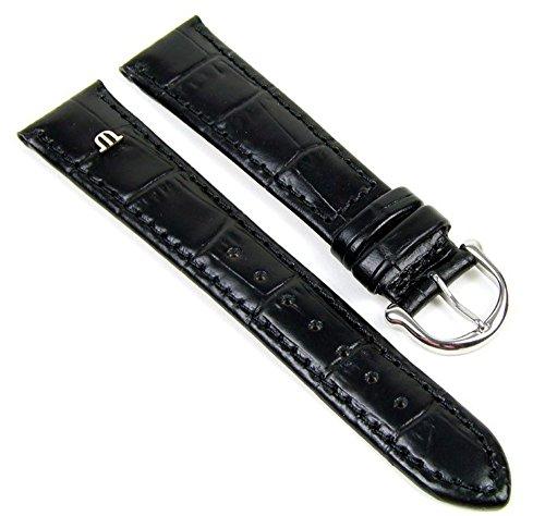 Maurice Lacroix Ersatzband Uhrenarmband Kalbsleder Kroko Optik Schwarz 19mm