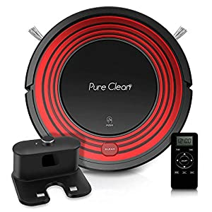pureclean Automatic Programmable Robot Vacuum Cleaner – Robotic Auto Home Cleaning for Clean Carpet Hardwood Floor w/Self Activation and Charge Dock – HEPA Pet Hair & Allergies Friendly PUCRC95UK