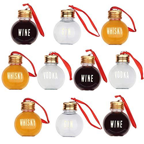10 Bolas de Navidad para Rellenar con Bebidas Alcohólicas con Etiquetas Adhesivas, 50ml| Reutilizable y Resistente| Adornos de Bolas Árbol Navidad Personalizable Decoración Manualidades Regalos.