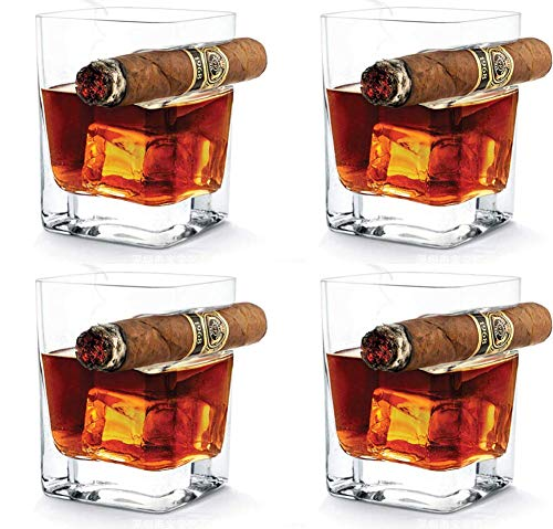 FZSWW 4PCS Whiskey Glass with Cigar Holder,Hand-Free for Cigar Cigarette Lovers Old Fashion Ultra Clear Cigar Glass for Wine Bourbon Brandy(320ml)