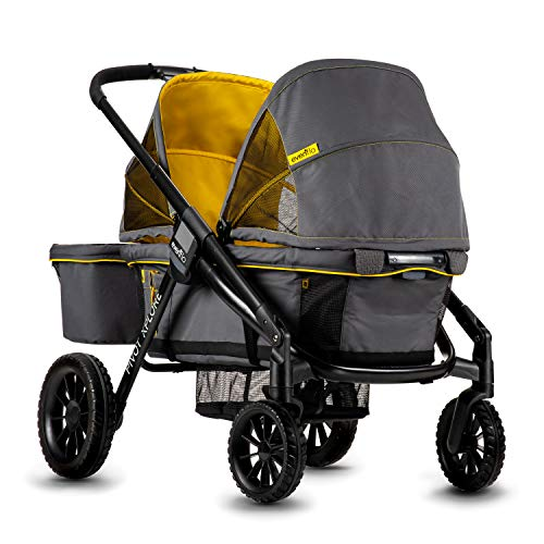 Evenflo Pivot Xplore All-Terrain Double Stroller Wagon, Adventurer Gray
