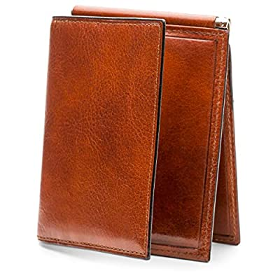 Bosca Men's Leather Money Clip with Pocket In Amber