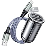 iPhone Car Charger, LISEN USB Cigarette Lighter with [MFI Certified] Cable All Metal Dual Port Car Charger for 11/ X/XS/XR/ 8/7, iPad, and More