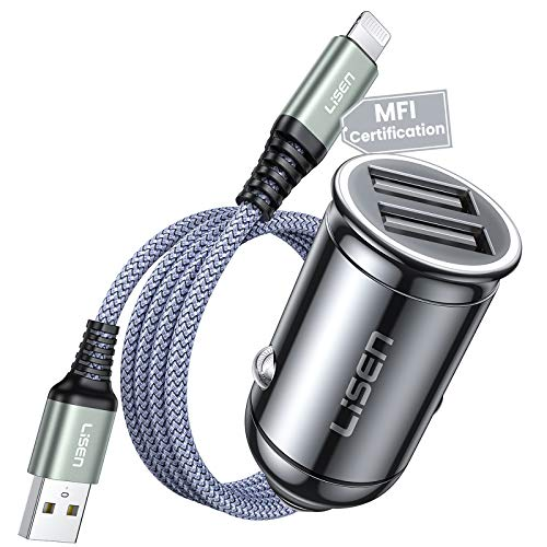 iPhone Car Charger, LISEN 4.8A All Metal Mini Lightning car Charger with MFi Certified Cable Monitor Voltage USB Car Charger Dual Port Cigarette Lighter Adapter for iPhone 11/X/XS/XR/8/7,iPad