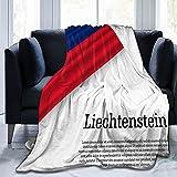 Flanelldecke mit winkender Flagge, Liechtenstein, flauschig, bequem, warm, leicht, weich, Überwurf für Sofa, Couch, Schlafzimmer