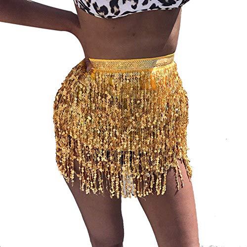 IZHH Damen TäNzerin Rock, Damenmode Pailletten Bauchtanz Riemchen Taille Kette Rock KostüM Tassel Wrap Rock Club Carnival Mini Rock Tutu Unterrock(Gold,One Size)