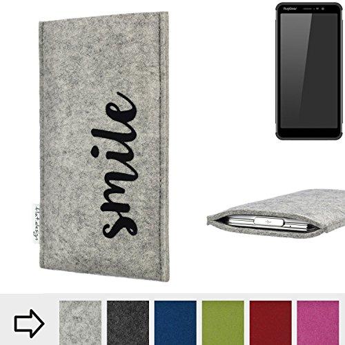 flat.design Handy Hülle FARO für Ruggear RG850 personalisierbare Handytasche Filz Tasche Case Smile fair