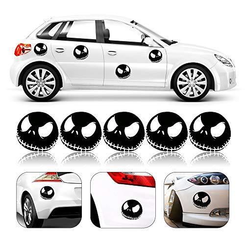 XGzhsa Schädel Auto Aufkleber, Halloween Auto Aufkleber, 5 Stück Schädel reflektierende Auto Aufkleber für Auto oder Motorrad Fenster Türdekoration (schwarz)