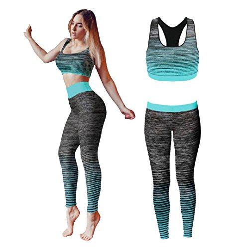 Conjunto de ropa de yoga o entrenamiento para mujer de Bonjour®, parte superior y mallas ajustadas Stretch-Fit , Turquoise Crop Top, One Size ( UK 8 - 14 )