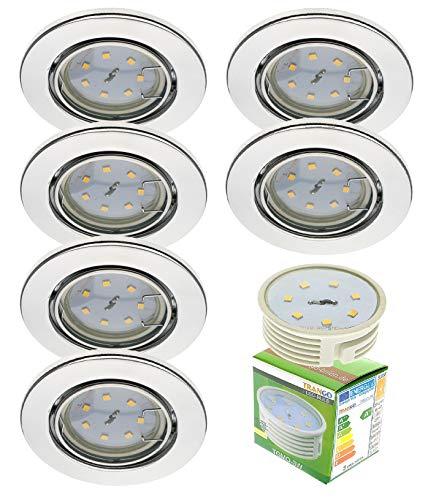 Preisvergleich Produktbild Trango 6er Set LED Einbaustrahler in Chrom Rund TG6729-068M3 Bad Einbauleuchte,  Deckenstrahler,  Einbauspots,  Deckenlampe incl. 6x 3000K warmweiß LED Modul Ultra Flach nur 3cm Einbautiefe