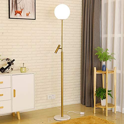 Glass Sphere LED vloerlamp - Leeslampen Moderne moderne matte lampen met spots - Hoge staande uplight lamp voor woonkamer, hol, kantoor, slaapkamer - met afstandsbediening
