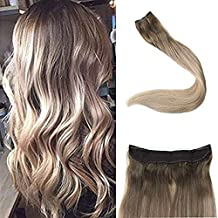 Full Shine14 inch Ombre Halo Extensions Human Hair Fish Line Hair Balayage Color #8 Ash Brown Fading to #60 and #18 70g Per Piece Invisible Wire Remy Human Hair